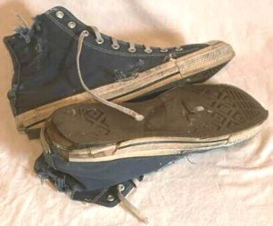 "Worn out Converse ""Chuck Taylor"" All Star blue high-tops"
